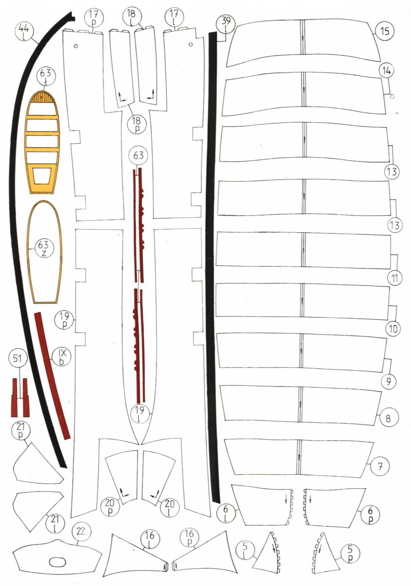 法国古帆Le Courieur号船模平面图纸 JPG格式
