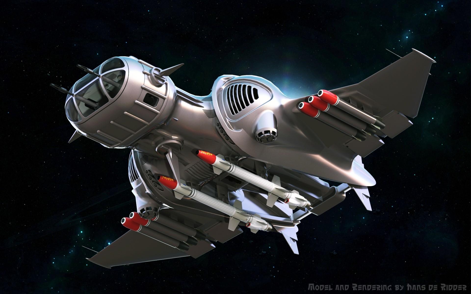 Black Mamba科幻宇宙飞船3D数模图纸 STEP格式