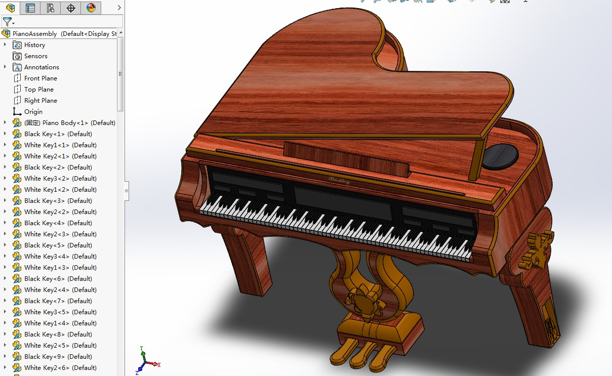数字三角钢琴3D数模图纸 Solidworks设计 附平面工程图