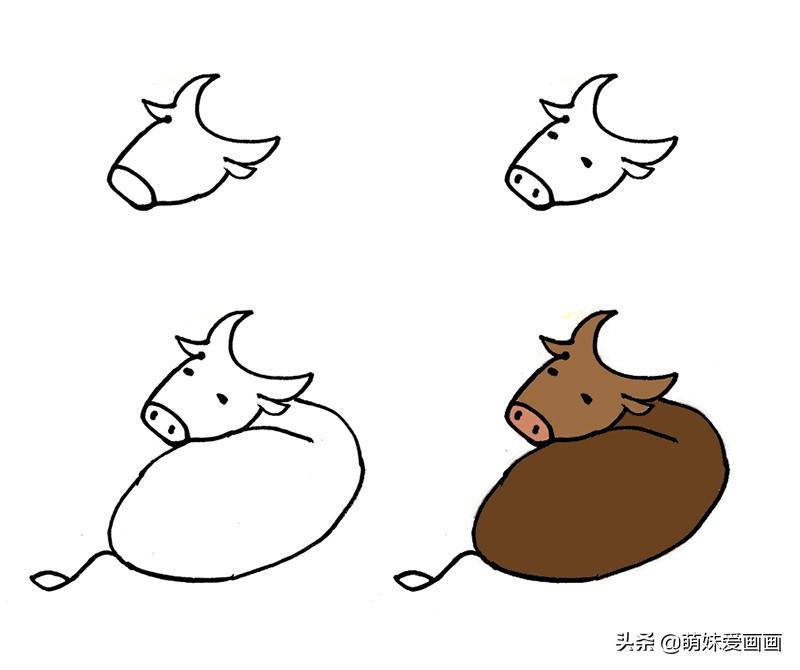 牛的简笔画图片带颜色