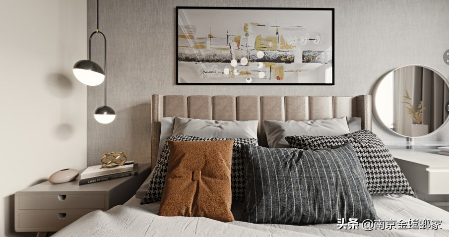 三口之家—橙色点缀现代轻奢风,安静舒适