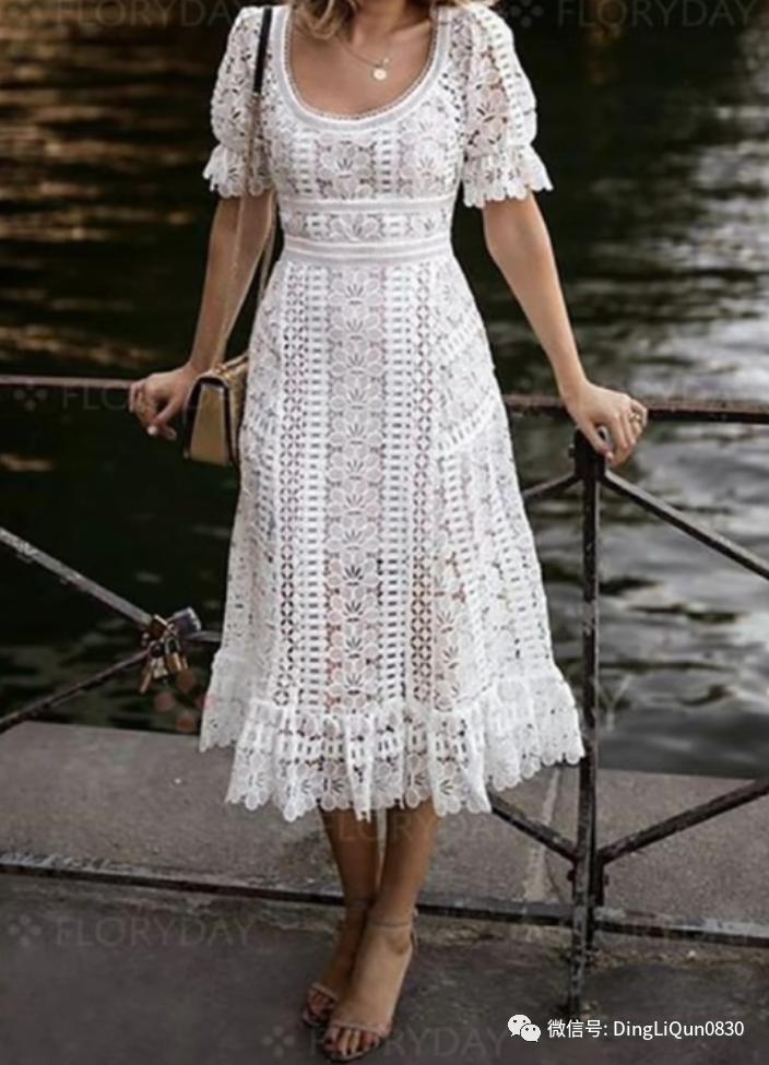「针织作品」30款简洁漂亮的钩花连衣裙上衣