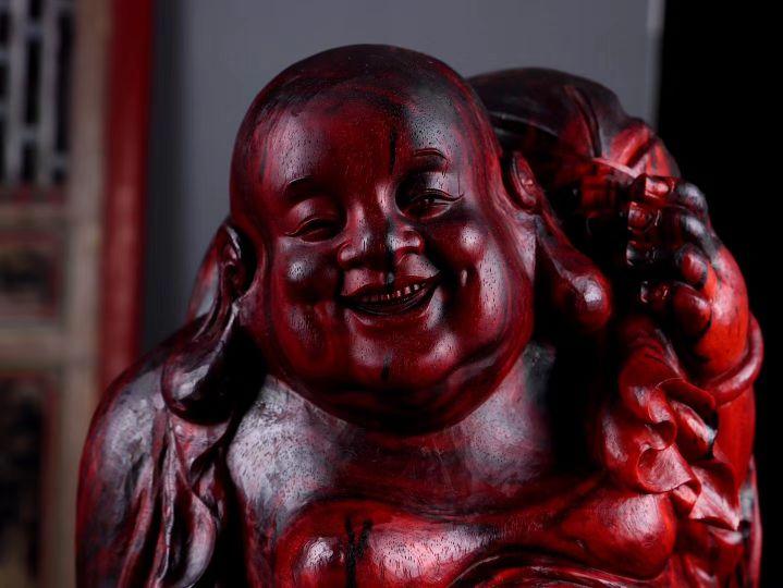 传家宝级别的紫檀雕刻!喜庆无比的弥勒笑佛!