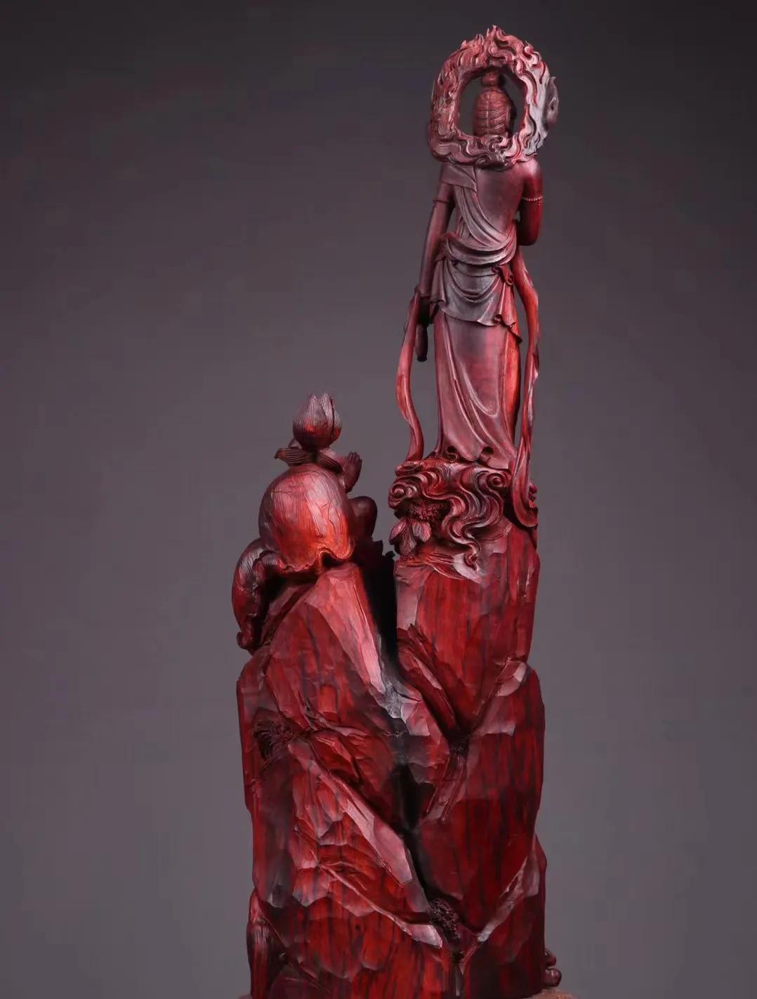 木中生童子,童子拜观音!精湛传神的紫檀手工木雕!