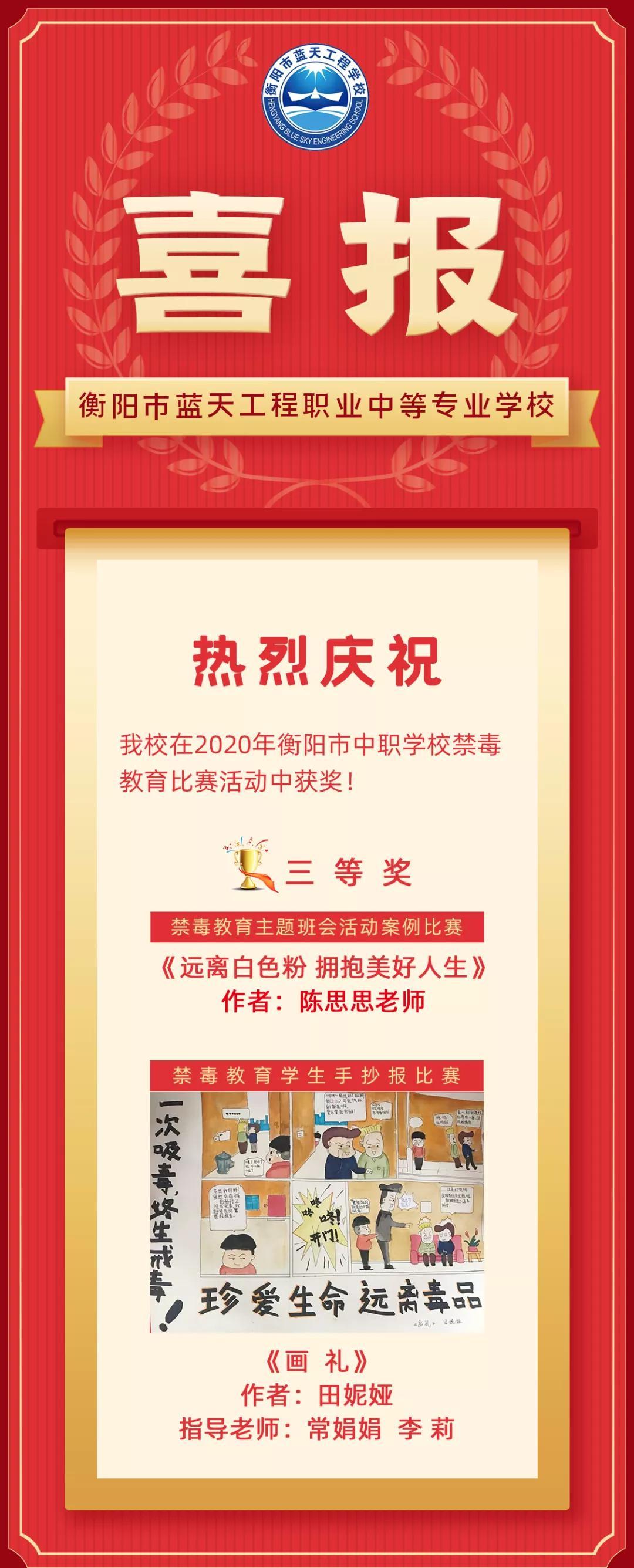 衡阳市亚洲十大信誉彩票平台在2020年市中职学校禁毒教育比赛中获奖