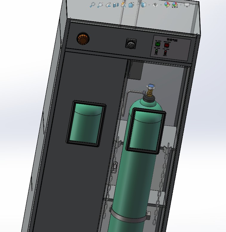 智能气瓶柜3D数模图纸 Solidworks设计