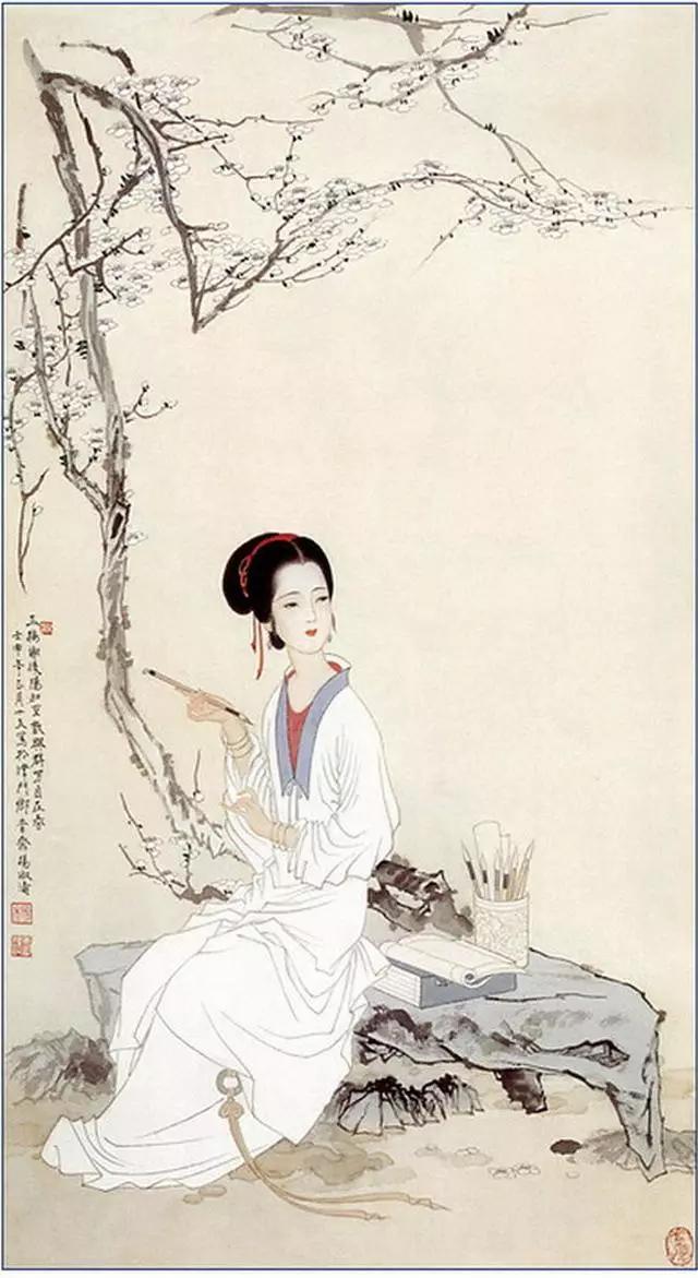杨淑涛工笔传统仕女画,质朴高雅