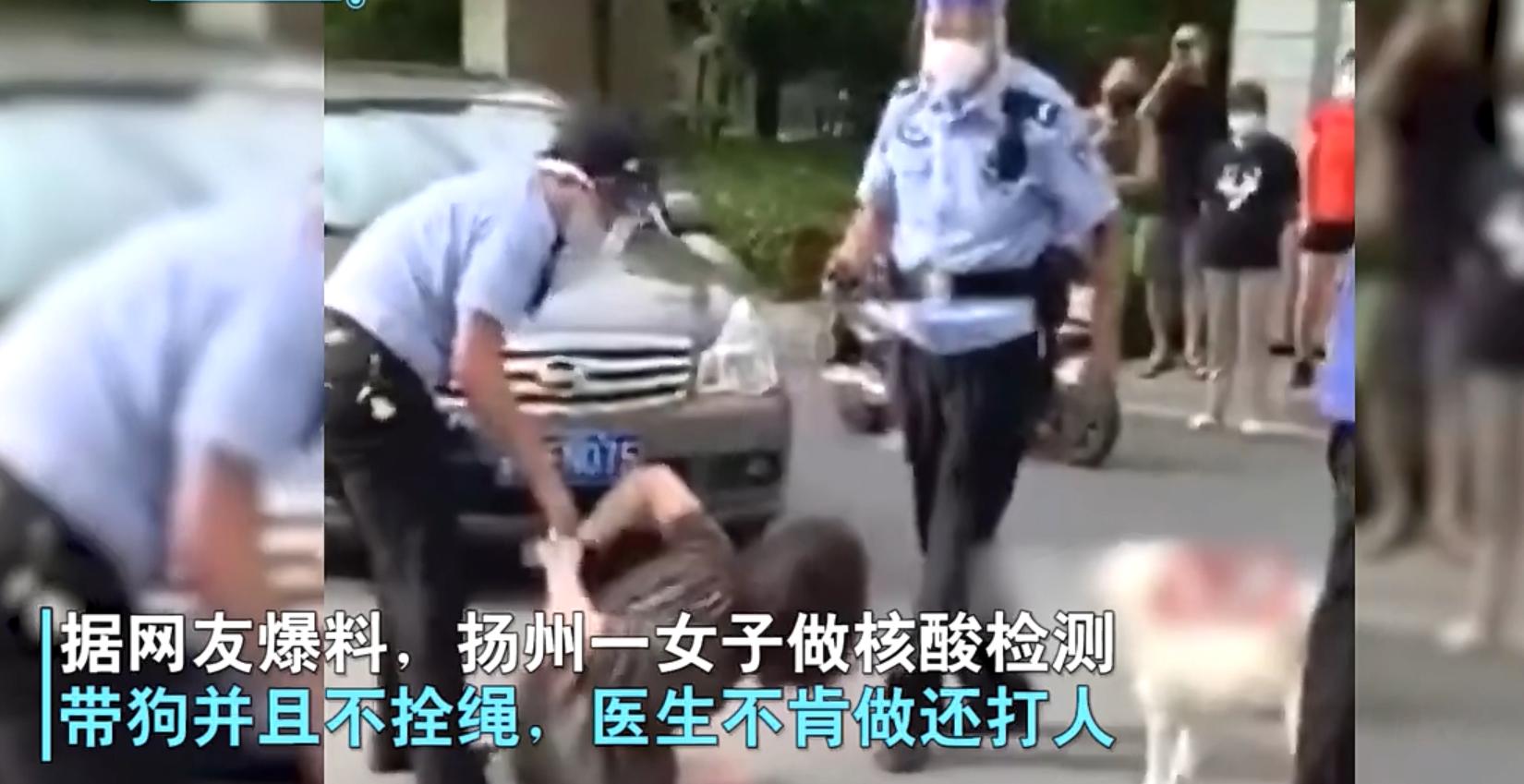 扬州一女子带狗测核酸不牵绳,辱骂殴打防疫人员且袭警,被警方带走仍激烈反抗