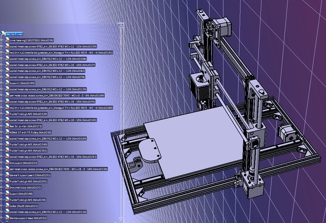 250x250x200 3D打印机结构3D图纸 STEP格式