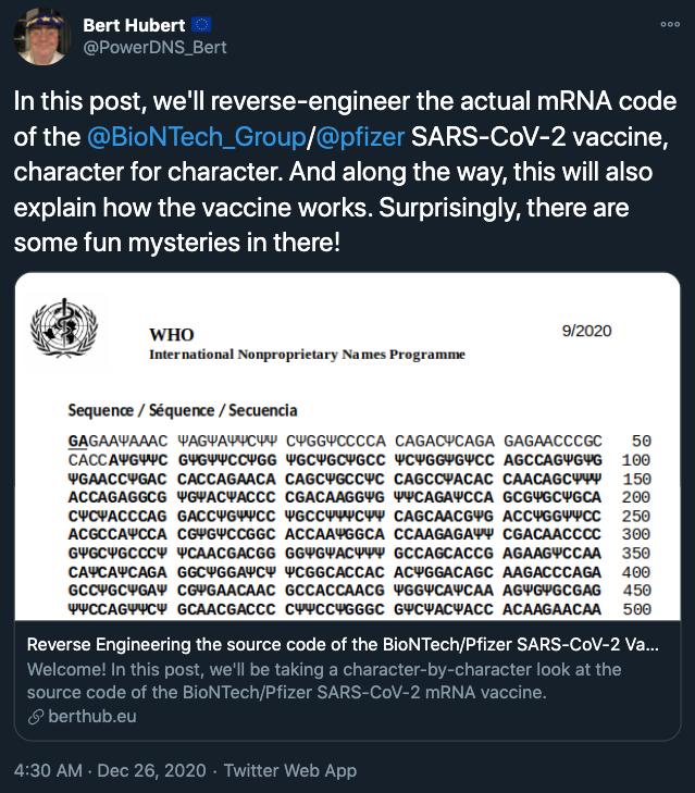 科普   自然界也有源代码:一位程序员逆向工程了辉瑞新冠疫苗