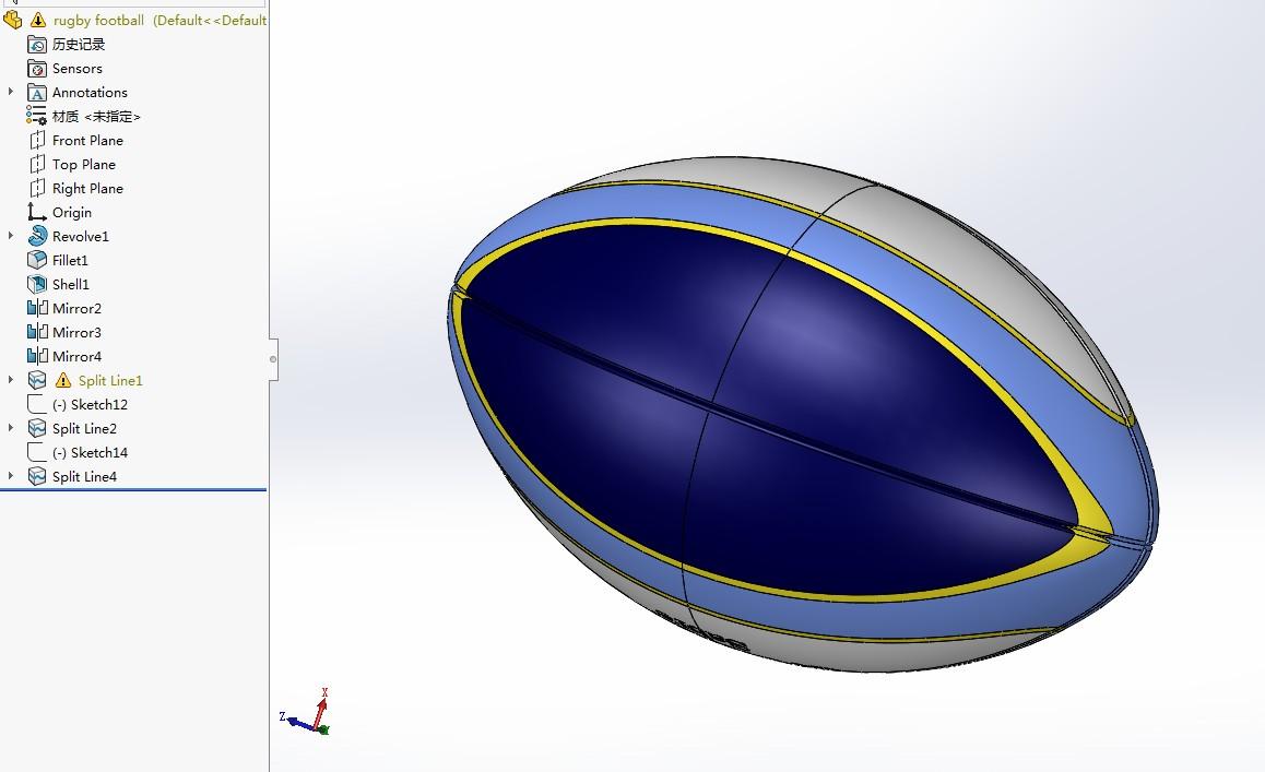 橄榄球简易模型3D图纸 Solidworks设计