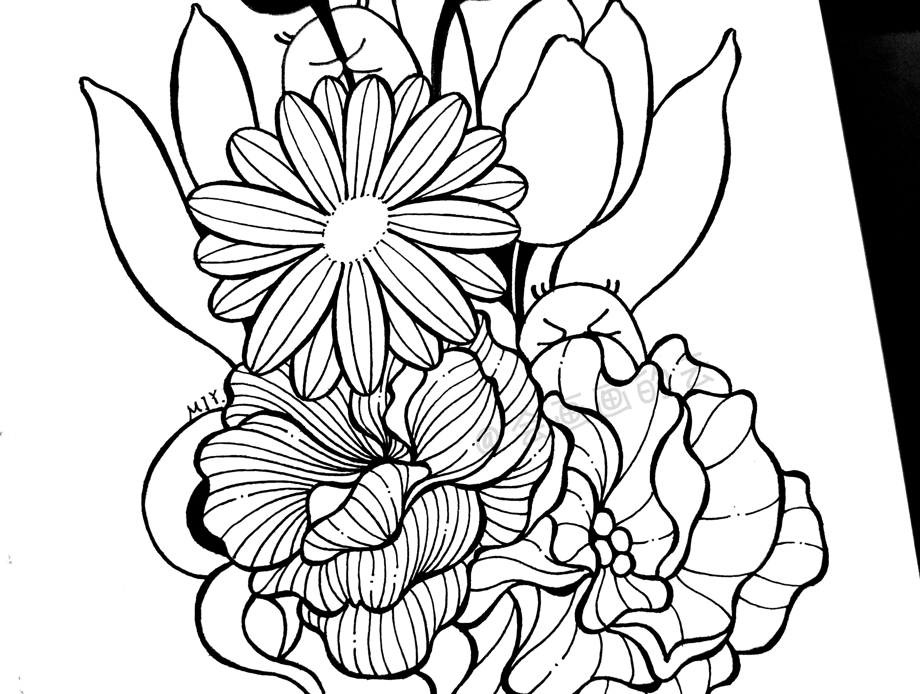 工艺美术绘画十分简易!线框持续反复,一歩一歩教你怎画缕漂亮的花