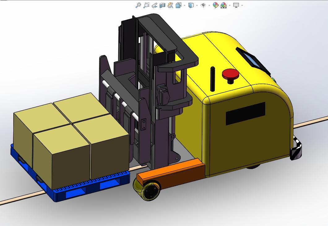 AGV叉车式智能运载机器人3D模型图纸 Solidworks设计