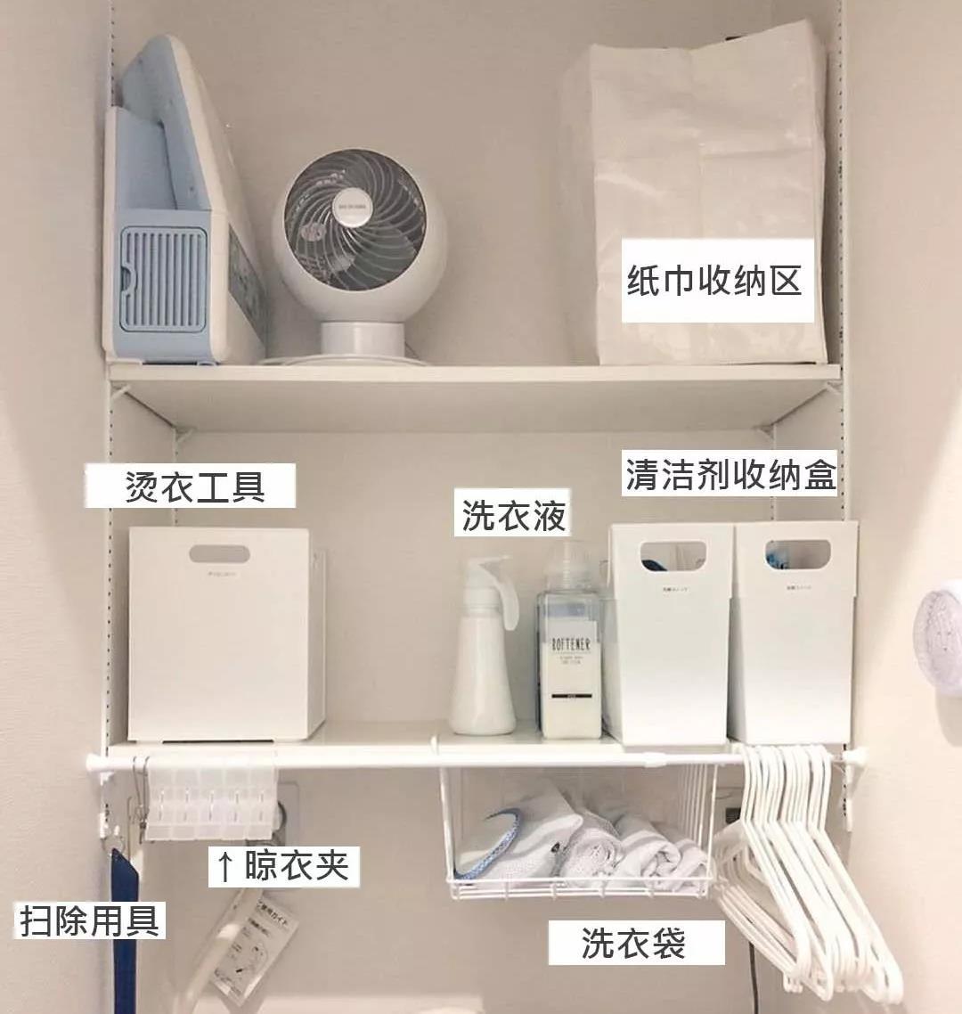 日本主妇不愧收纳狂魔,洗衣机上方巴掌大地,也能再榨出5㎡储物