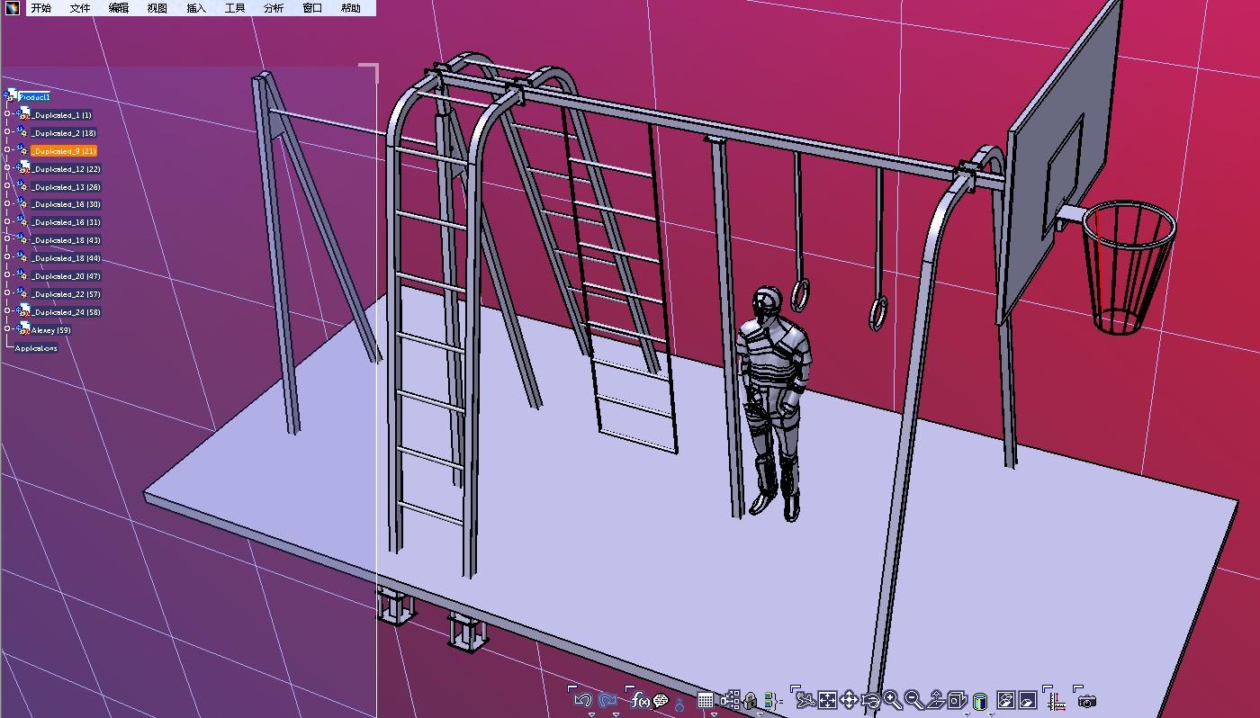 室外健身运动锻炼场地3D数模图纸 STP格式
