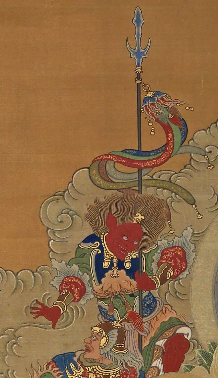 长谷川绘:释迦三尊与十六善神图