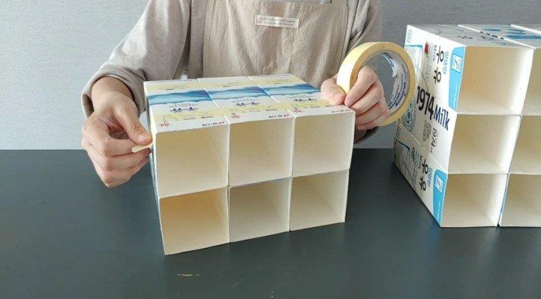 喝完牛奶的盒子别急着丢,学她做个巧妙改造,整理出丰富收纳空间
