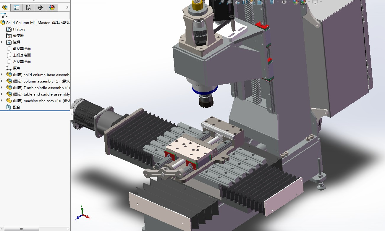 Solid Column CNC数控铣床3D数模图纸 x_t格式