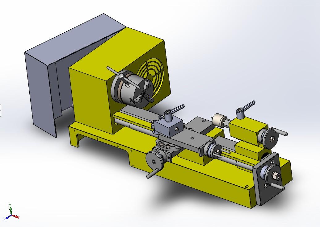 lathe md65车床简易模型3D图纸 Solidworks设计