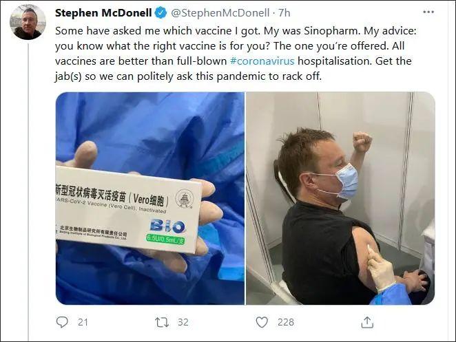 """BBC驻华记者打中国疫苗后立即出现""""副作用"""":连发数推兴奋晒照"""