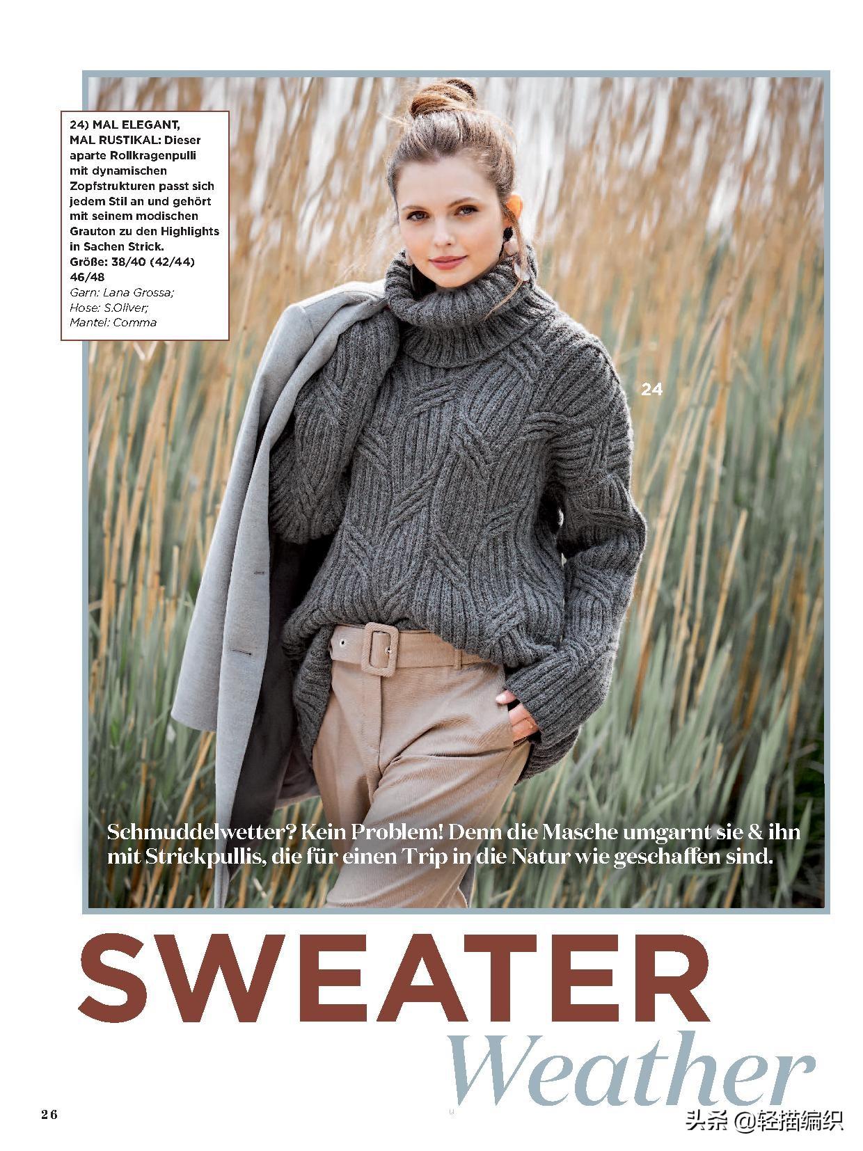 秋冬款针织衫,沉稳的灰色和咖啡色,绞花和提花图案,款款大方