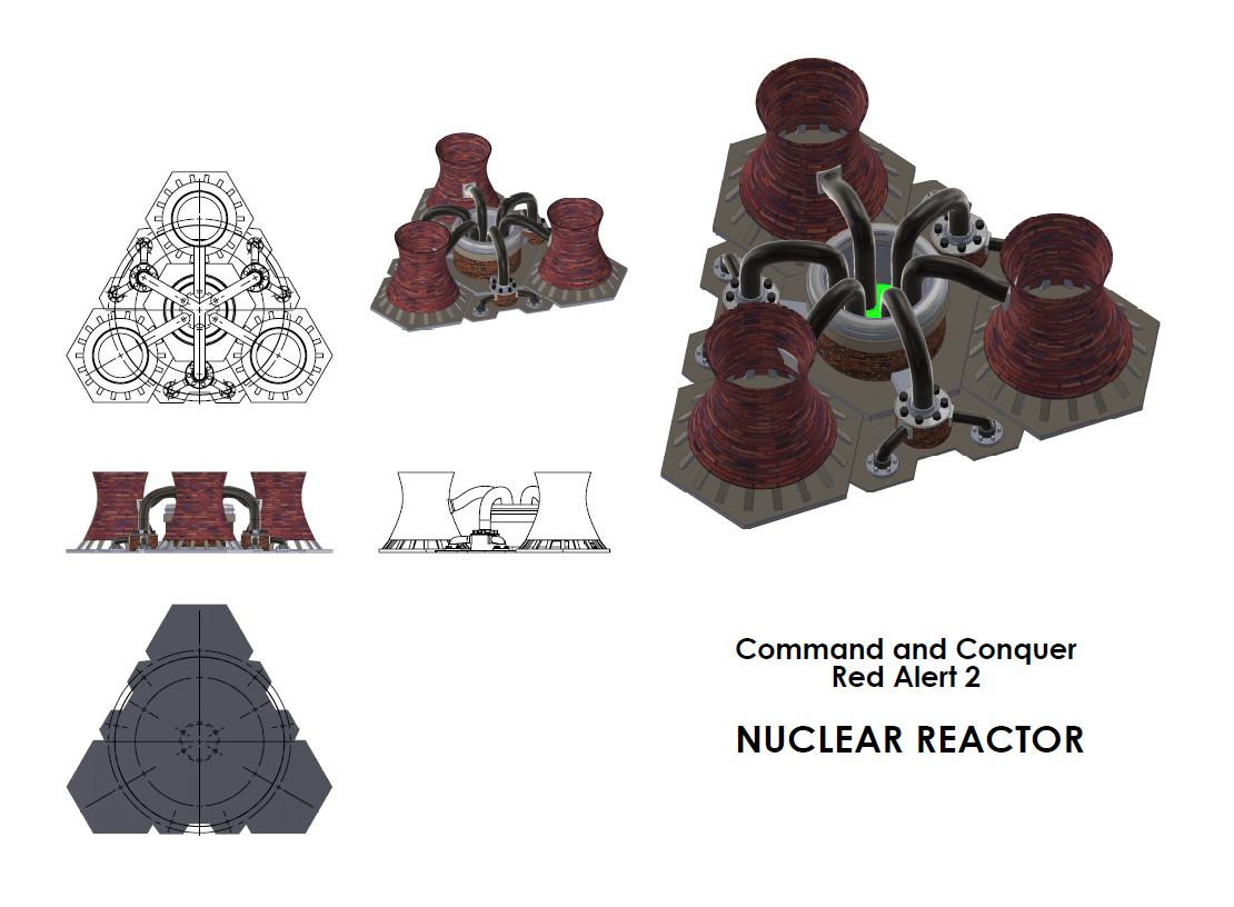 红色警戒核电站模型3D打印图纸 STL格式