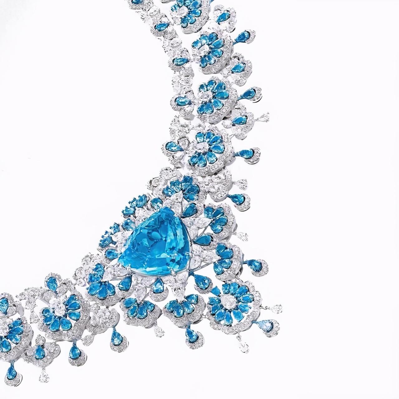 萧邦34.63ct帕拉伊巴套链,繁美蕾丝,每组花件都是1款精美吊坠