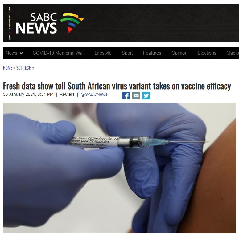 南非发现的变种毒株面前 四家美产疫苗有效率大打折扣