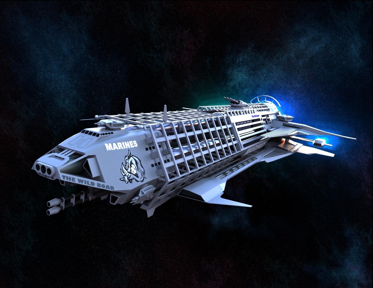 The Wild Boar科幻宇宙飞船3D图纸 Solidworks设计