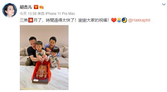 胡杏兒曬全家福慶三胎兒子滿月,一家五口同框畫面溫馨幸福