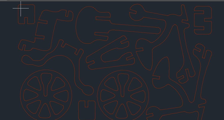 激光切割Bicycle自行车拼装模型图纸 dxf格式