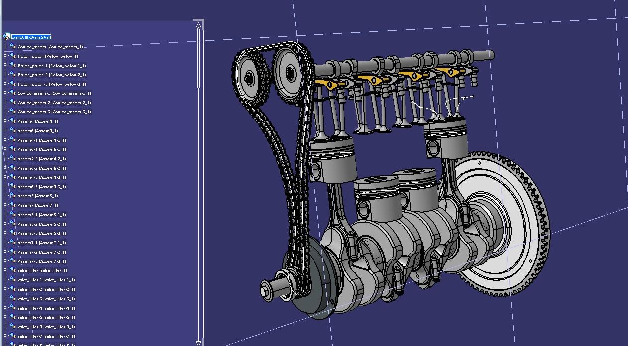 发动机曲轴和凸轮轴结构模型3D图纸 STP格式