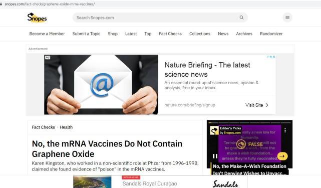 """新冠疫苗含有氧化石墨烯,会让接种人成为""""万磁王""""?谣言"""