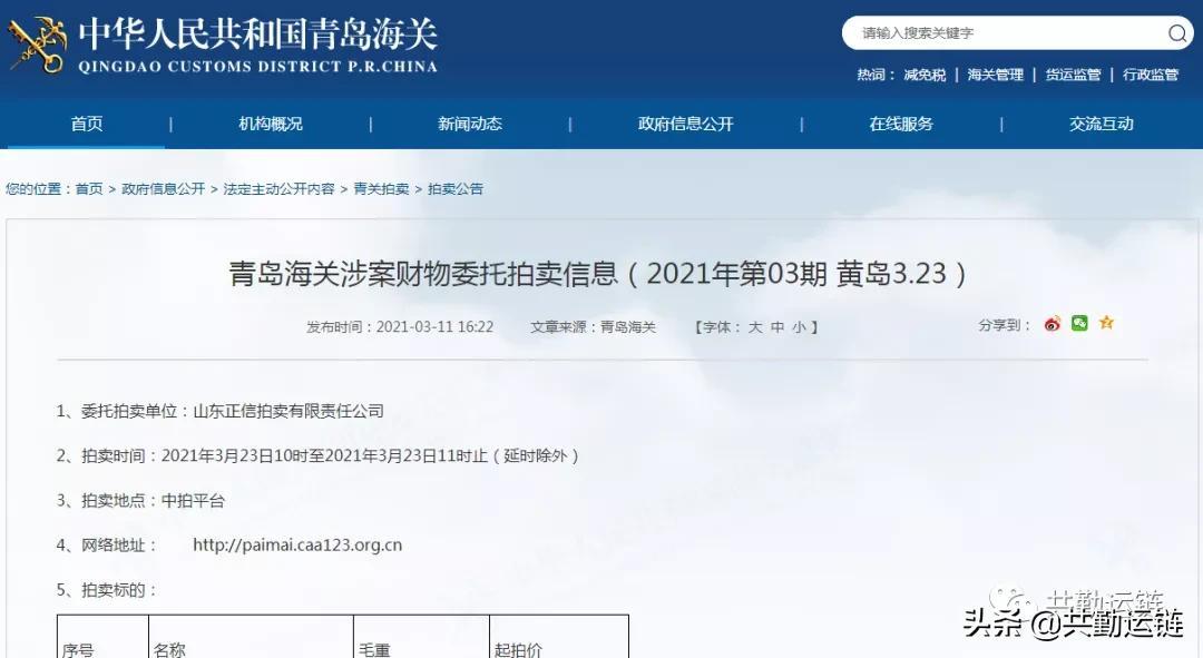 青岛海关涉案财物委托拍卖信息(2021年第03期)