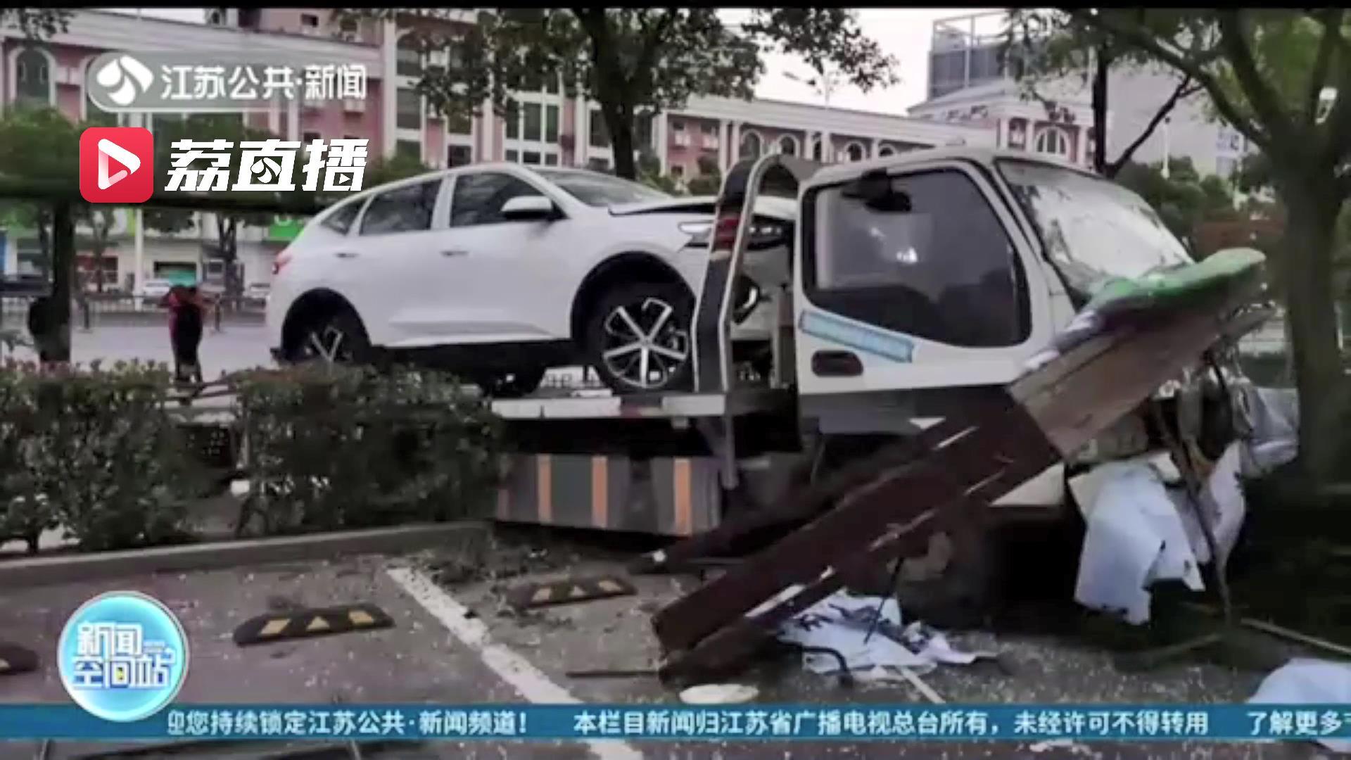 好危险!司机疲劳驾驶惹祸 拖车凌晨失控冲进医院