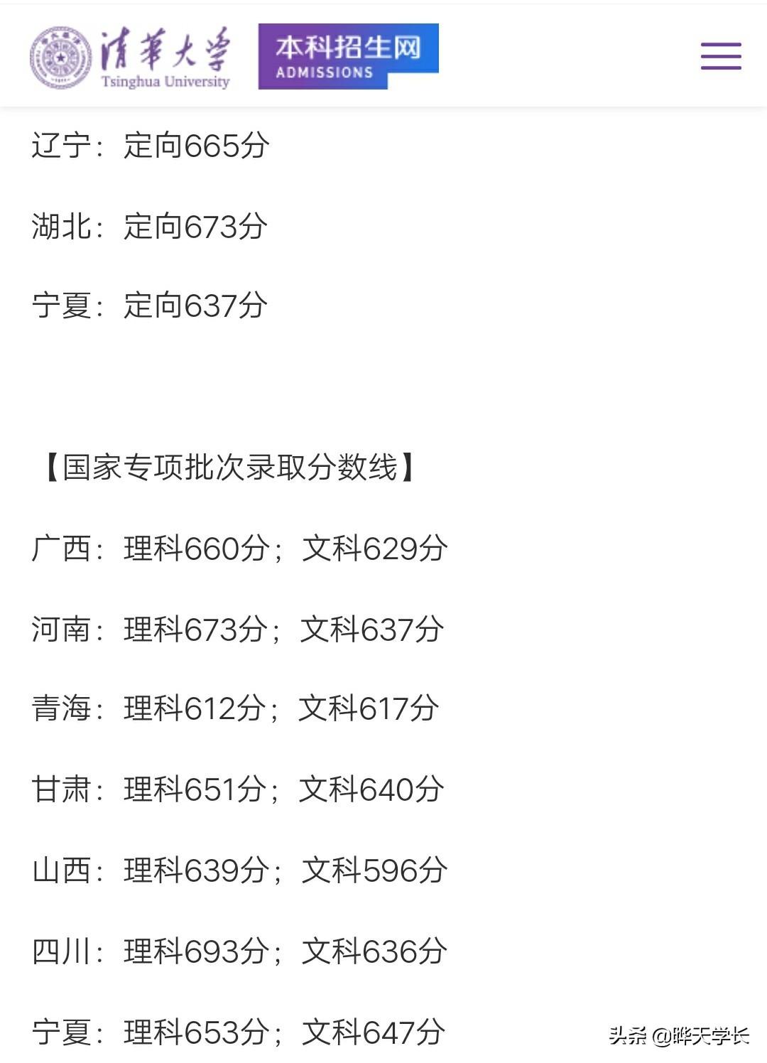 清华大学2019高登科选分数线(天下)