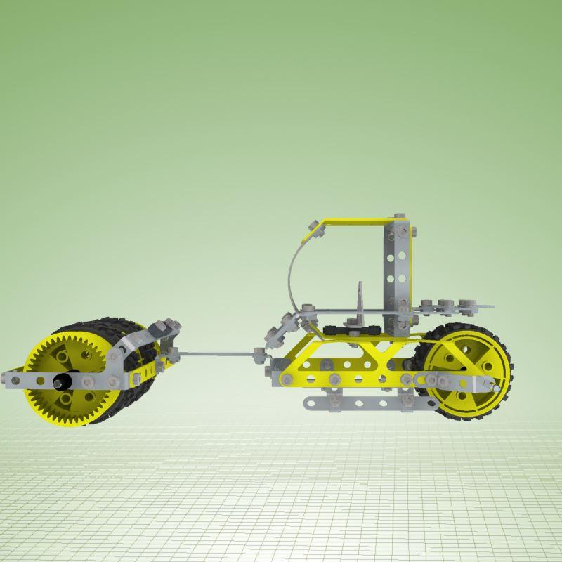 Meccano简易玩具压路机拼装模型3D图纸 INVENTOR设计