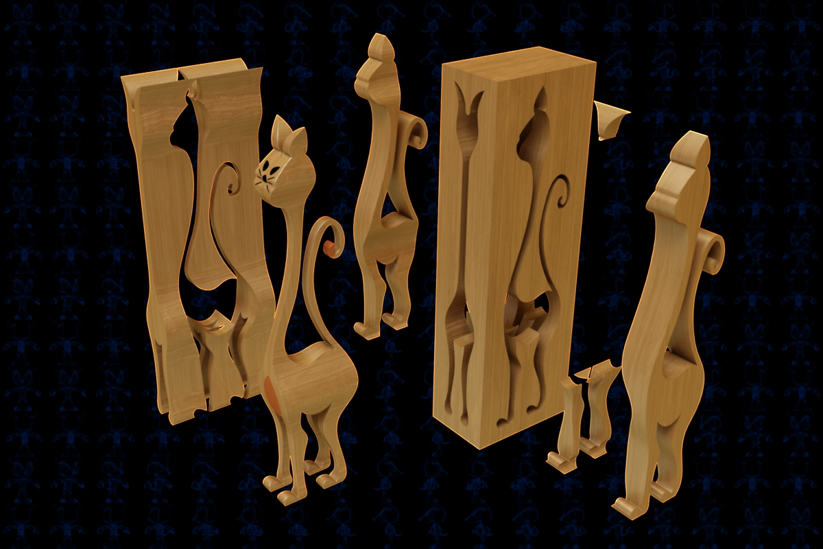 ScrollSaw Cat拼装猫玩具魔盒3D图纸 Solidworks2018 附多种格式