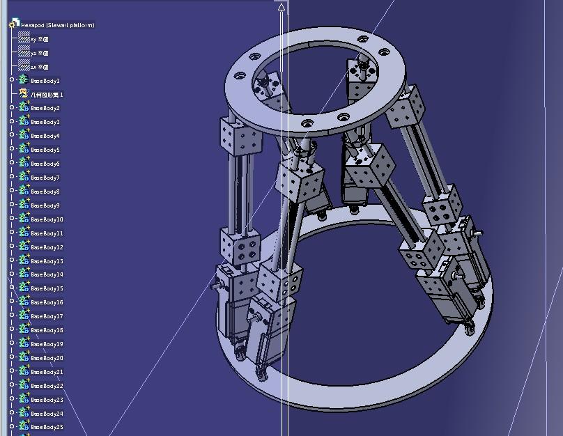Gough Stewart平台六轴并联机器人3D图纸 STEP格式