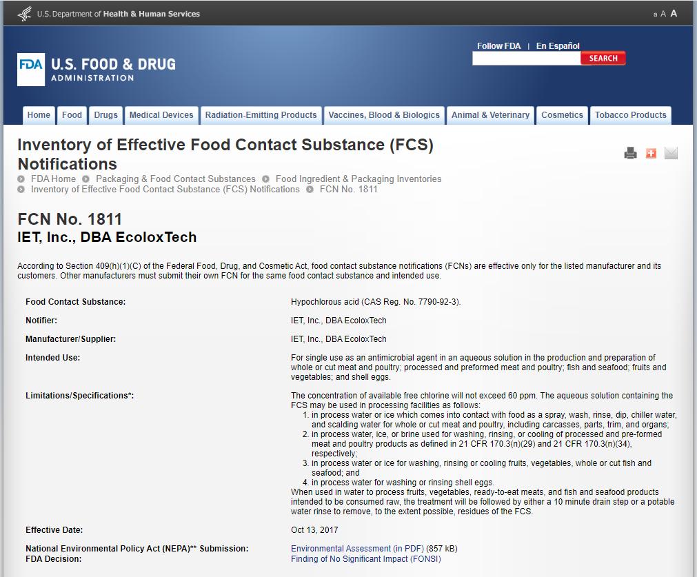 次氯酸——在水产食品行业的应用