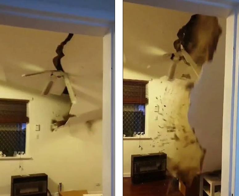 什么运气?澳洲男搬新家俩礼拜不到,天花板竟塌了,吓得惊叫连连