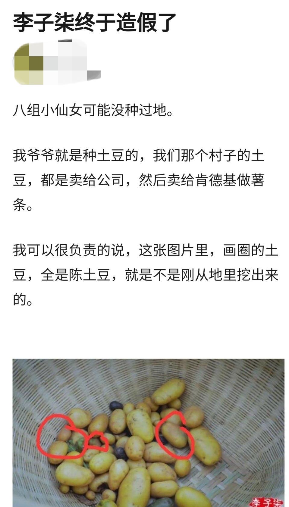 李子柒视频被质疑造假,疑似将土豆埋进土里后再挖出,引发热议