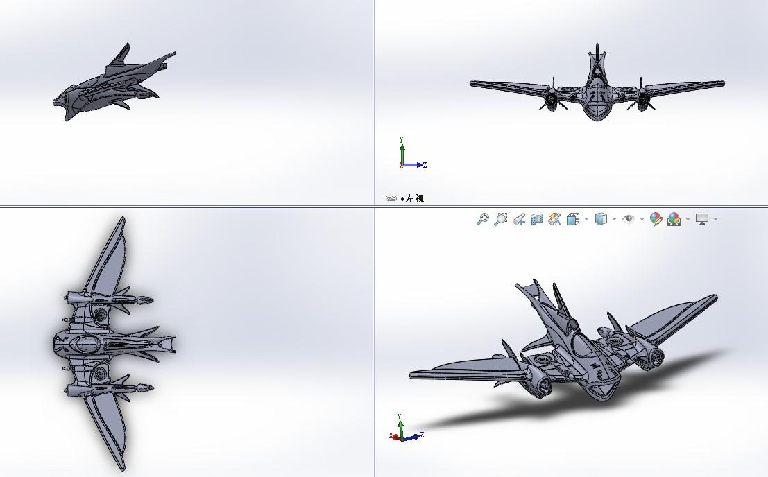 Squaloid鲨鱼造型喷气式飞机3D模型图纸 Solidworks设计