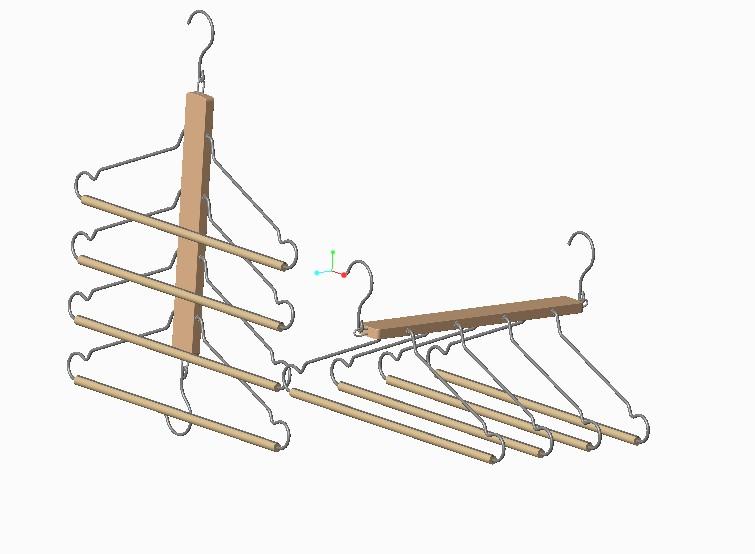 多个串联晾衣架模型3D图纸 CREO设计 附STP