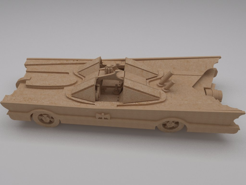 Batimovil敞篷跑车立体拼装模型激光切割图纸 dwg dxf cdr格式