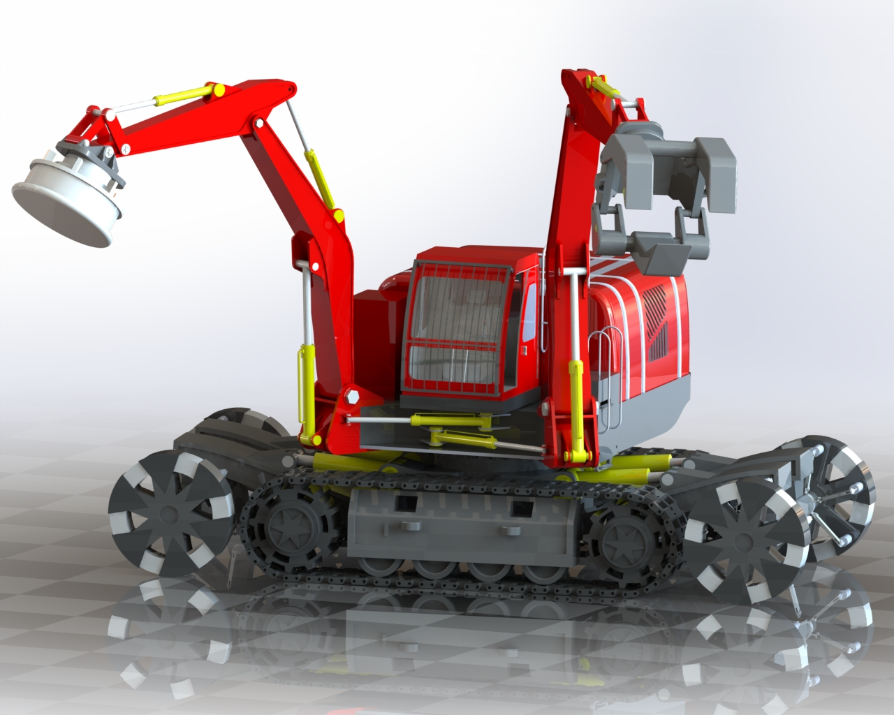 多功能挖掘装载机造型3D图纸 Solidworks2014设计