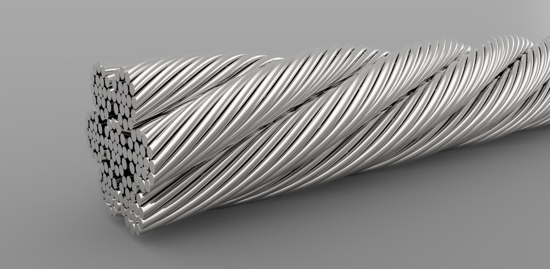 cable steel钢丝缆绳模型3D图纸 Solidworks设计