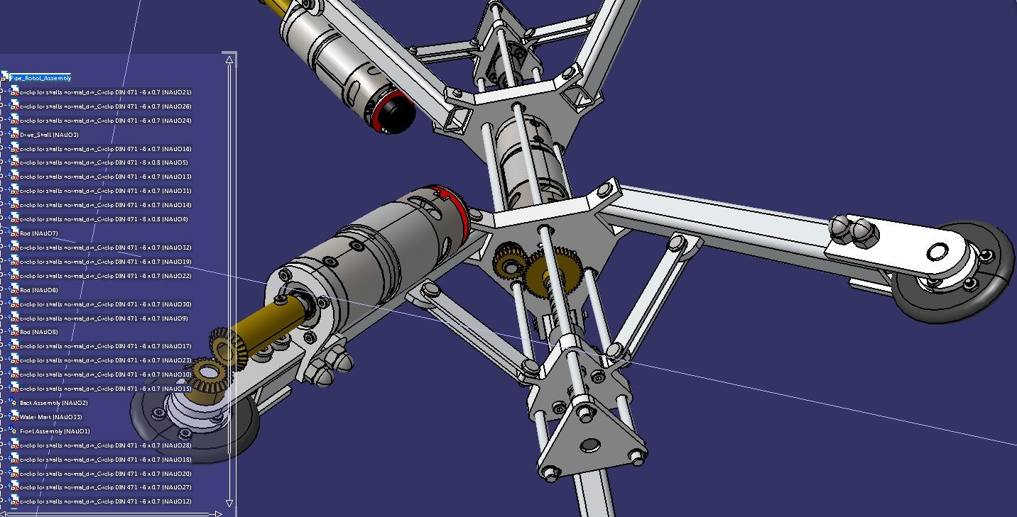 爬内管管道爬行机器人3D数模图纸 STEP格式