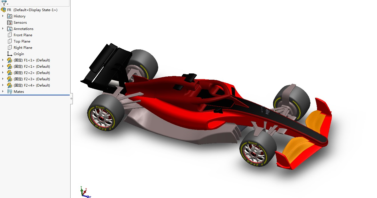 Formula-1 F1方程式赛车2021简易模型3D图纸 Solidworks设计