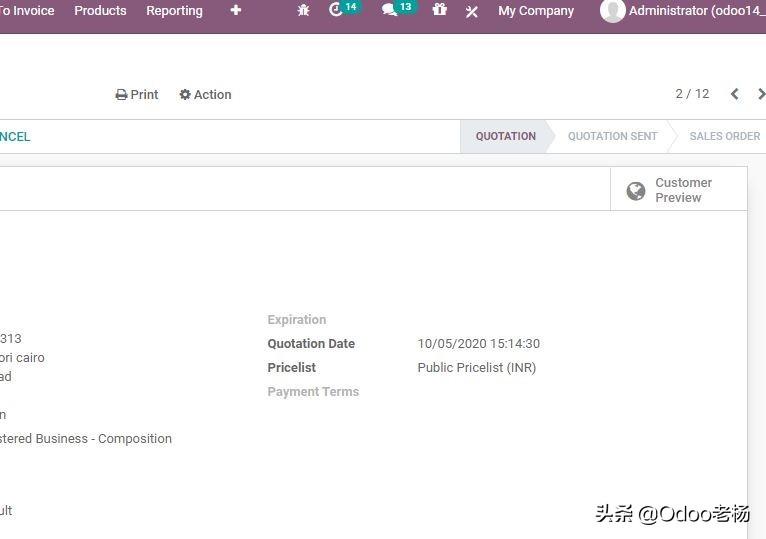 Odoo14免费开源ERP实施手册:销售功能高级应用